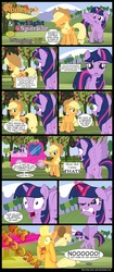 Size: 1000x2374 | Tagged: safe, artist:mlp-silver-quill, applejack, twilight sparkle, alicorn, earth pony, pony, angry, applejack truck, beam, big no, blast, cardboard cutout, cardboard twilight, comic, crying, duo, female, floppy ears, flying, frown, glare, gritted teeth, magic, magic beam, magic blast, mare, open mouth, pointing, raised hoof, scrunchy face, shocked, spread wings, truck, twilight is not amused, twilight sparkle (alicorn), wide eyes