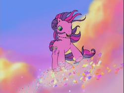 Size: 640x480 | Tagged: safe, skywishes, butterfly, dancing in the clouds, cloud, cloudy, g3, sky, windswept hair, windswept mane