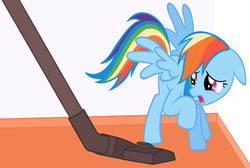 Size: 1965x1317 | Tagged: artist needed, safe, rainbow dash, human, pegasus, pony, adorable distress, behaving like a cat, behaving like a dog, cute, dashabetes, fear, female, floppy ears, frown, funny, mare, open mouth, raised hoof, scared, spread wings, ultimate terror, vacuum cleaner