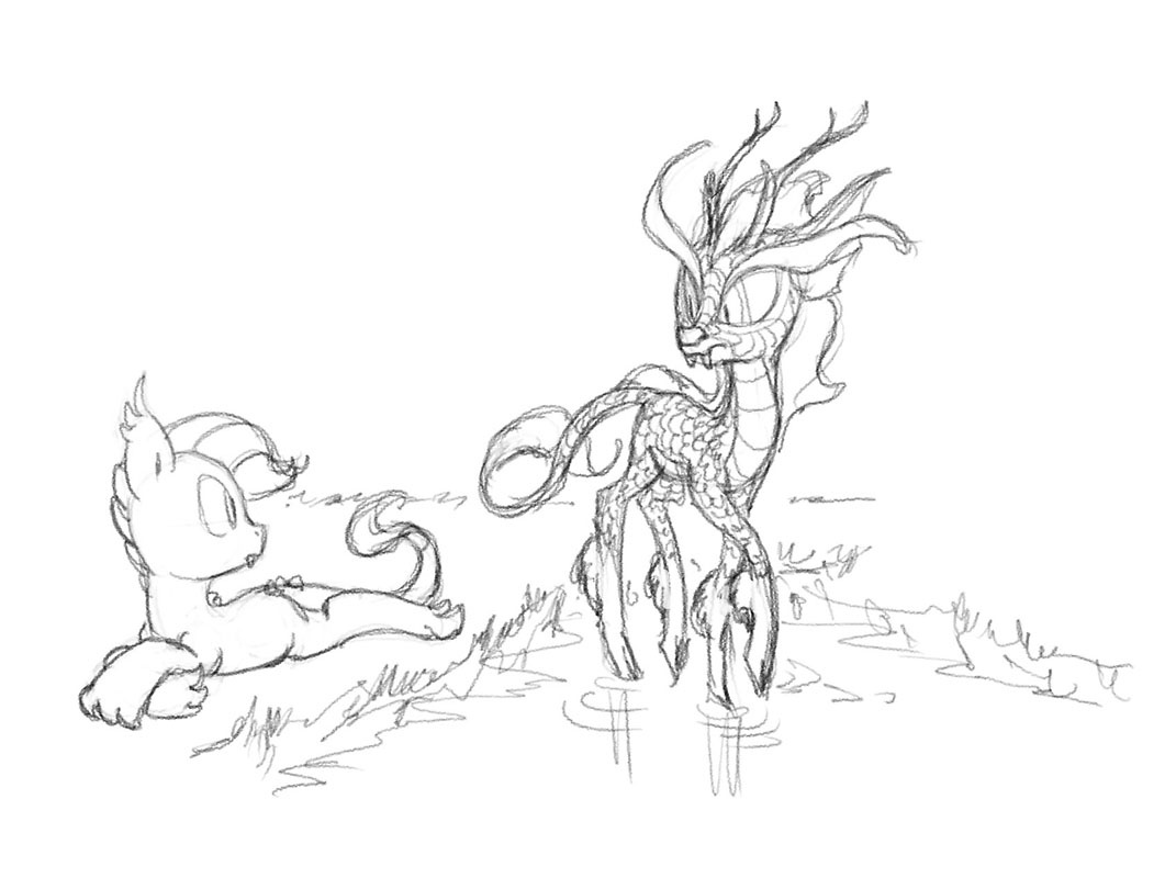 233390 artist carnifex parison dracony hybrid interspecies MLP Pony OC Cat offspring parent rarity parent spike parents sparity pencil drawing safe traditional art walking on water water derpibooru my little pony