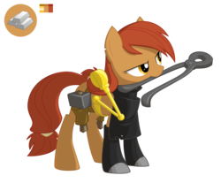 Size: 3142x2600 | Tagged: artist:equestria-prevails, blacksmith, earth pony, oc, oc only, pliers, pony, safe, simple background, tongs, transparent background