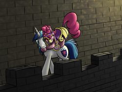 Size: 2000x1500 | Tagged: safe, artist:furor1, pinkie pie, shining armor, adultery, crack shipping, eyes closed, grin, hug, hug from behind, infidelity, ponies riding ponies, shining armor gets all the mares, shiningpie, shipping, smiling, walking