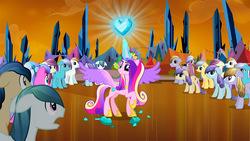 Size: 1280x720 | Tagged: safe, screencap, amber waves, bright smile, castle (crystal pony), cinnabar, crystal arrow, crystal beau, elbow grease, fleur de verre, golden hooves, ivory, ivory rook, paradise (crystal pony), princess cadance, quicksilver, sapphire joy, spike, alicorn, crystal pony, pony, the crystal empire, colored wings, crystal empire, crystal heart, dark crystal, depressed, female, glowing horn, gradient wings, levitation, magic, magic aura, male, mare, spread wings, stallion, telekinesis, wings