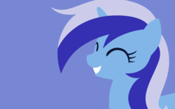Size: 2400x1500 | Tagged: safe, artist:gingermint, artist:icekatze, minuette, pony, unicorn, background pony, bust, eyes closed, female, horn, lineless, mare, portrait, simple background, smiling, solo, teeth, wallpaper