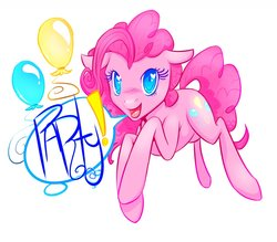 Size: 1280x1121 | Tagged: safe, artist:morkemime, pinkie pie, balloon, solo