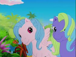 Size: 640x480 | Tagged: safe, pegasus, pony, friends are never far away, background pony, g3, pink, red eyes