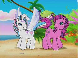 Size: 640x480 | Tagged: safe, screencap, skywishes, star catcher, earth pony, pegasus, pony, friends are never far away, beach, butterfly island, female, g3, intertwined tails, knot, looking at each other, mare, pegasus promise, shipping fuel