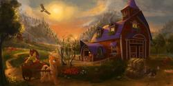 Size: 2340x1170   Tagged: safe, artist:devinian, apple bloom, applejack, winona, bird, chicken, eagle, earth pony, pony, accessory swap, apple, apple tree, barn, carrot house, cart, eyes closed, farm, female, filly, flower, hat, hay bale, mare, scenery, scenery porn, sleeping, sweet apple acres, tree, wagon, working