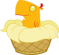 Size: 2511x2339 | Tagged: safe, artist:videogamesizzle, peewee, phoenix, basket, male, phoenix chick, simple background, solo, transparent background, vector