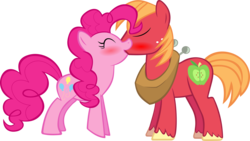 Size: 5087x2864 | Tagged: safe, artist:videogamesizzle, big macintosh, pinkie pie, earth pony, pony, absurd resolution, blushing, kissing, male, pinkiemac, shipping, simple background, stallion, straight, transparent background, vector