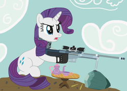 Size: 3496x2488 | Tagged: safe, artist:neodabig, rarity, pony, unicorn, battlefield 3, cup, cutie mark, female, gun, hooves, horn, mare, open mouth, optical sight, rifle, rock, sitting, sniper rifle, solo, tea, teacup, weapon