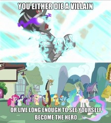 Size: 500x556 | Tagged: safe, edit, edited screencap, screencap, applejack, discord, fluttershy, king sombra, pinkie pie, princess celestia, rainbow dash, rarity, spike, twilight sparkle, alicorn, draconequus, pony, unicorn, keep calm and flutter on, the crystal empire, batman, caption, ethereal mane, female, image macro, imminent death, male, mane six, mare, meme, stallion, the dark knight, you either die a hero or live long enough to see yourself become the villain