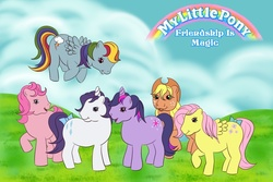 Size: 900x600   Tagged: safe, artist:dunkinbean, applejack, fluttershy, pinkie pie, rainbow dash, rarity, twilight sparkle, earth pony, pegasus, pony, unicorn, g1, g4, bow, g4 to g1, generation leap, mane six, tail bow