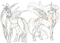 Size: 2247x1609 | Tagged: safe, artist:fachhillis, nightmare moon, queen chrysalis, alicorn, changeling, changeling queen, female, hoers, realistic