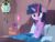 Size: 1024x768 | Tagged: safe, artist:frankier77, owlowiscious, spike, twilight sparkle, semi-anthro, bed, bed mane, clothes, female, morning ponies, pajamas, solo