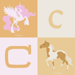 Size: 900x900 | Tagged: safe, artist:citron--vert, princess celestia, horse, alphabet, c, campolina, looking at you, missing accessory, open mouth, pink mane, pink-mane celestia, raised hoof, raised leg, rearing, smiling, spread wings, wings