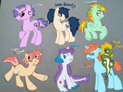 Size: 960x720 | Tagged: safe, artist:headdesk-art, oc, oc only, oc:apple bourbon, oc:apple brandy, oc:bazzle, oc:bright eyes, oc:gem, oc:glitter, oc:glitter sparkle, oc:glitter surprise, oc:jewel, oc:luster, oc:rose marie, oc:sugar spud, oc:sunspot, oc:sweet potato, dracony, hybrid, interspecies offspring, my little pony genesis, offspring, parent:applejack, parent:big macintosh, parent:fluttershy, parent:rainbow dash, parent:rarity, parent:soarin', parent:spike, parent:spitfire, parents:fluttermac, parents:soarinjack, parents:sparity, parents:spitdash, rule 63