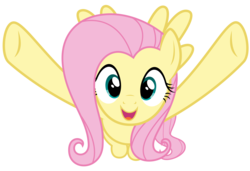 Size: 8192x5588 | Tagged: absurd res, artist:thatguy1945, cute, fluttershy, flying, games ponies play, happy, hug, incoming hug, looking at you, meme origin, open mouth, safe, shyabetes, simple background, smiling, spread wings, .svg available, transparent background, vector