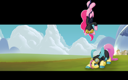 Size: 2520x1575 | Tagged: safe, artist:i-am-knot, fluttershy, pinkie pie, earth pony, pegasus, pony, bunny ears, catsuit, clothes, dangerous mission outfit, duo, female, flutterspy, fourth wall, goggles, hanging, hoodie, mare, pinkie spy