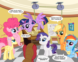 Size: 1000x800 | Tagged: alicorn, applejack, artist:sketchyjackie, cute, filly, filly twilight sparkle, fluttershy, my little filly, oc, oc:pun, pinkie pie, pony, pulley, pun, rainbow dash, rarity, safe, twilight sparkle, twilight sparkle (alicorn)