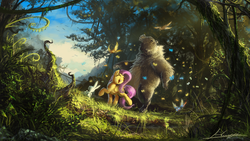 Size: 1920x1080   Tagged: safe, artist:huussii, angel bunny, fluttershy, harry, bear, bird, butterfly, pegasus, pony, animal, crepuscular rays, detailed, eyes closed, female, forest, happy, mare, open mouth, scenery, scenery porn, wallpaper