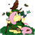 Size: 800x800 | Tagged: artist:aa, bag, bird, butterfly, clothes, critters, crossover, female, fluttershy, folded wings, hat, looking up, lord of the rings, mare, mouse, pegasus, pony, radagast, robe, safe, sitting, staff, the hobbit, wings, wizard