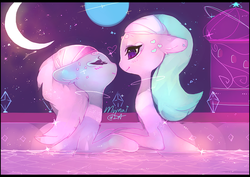 Size: 600x424 | Tagged: aloe, artist:mujinai, bedroom eyes, eyes closed, female, floppy ears, fluffy, heart, holding hooves, imminent kissing, incest, lesbian, lotus blossom, moon, night, safe, shipping, sisters, smiling, spa, spacest, spa twins, twincest, twins, water