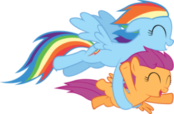 Size: 5000x3286 | Tagged: safe, artist:artpwny, rainbow dash, scootaloo, pony, absurd resolution, flying, happy, holding a pony, scootalove, simple background, transparent background, vector