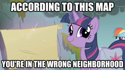 Size: 625x351 | Tagged: safe, edit, edited screencap, screencap, rainbow dash, twilight sparkle, dragonshy, duo, image macro, looking at you, map, saddle bag, twiface, wrong neighborhood