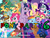 Size: 900x675 | Tagged: safe, apple bloom, applejack, braeburn, cranky doodle donkey, derpy hooves, dj pon-3, fluttershy, octavia melody, pinkie pie, princess celestia, princess luna, rainbow dash, rarity, scootaloo, snails, snips, spike, sweetie belle, tom, twilight sparkle, vinyl scratch, alicorn, donkey, earth pony, pegasus, pony, unicorn, crossover, golden oaks library, mario party, mario party 6, nintendo, parody, super mario bros., twilight is not amused, unamused, wall of tags