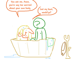 Size: 618x507   Tagged: safe, artist:the weaver, applejack, oc, oc:anon, earth pony, human, pony, bath, bathing, bathtub, coat rack, dialogue, eyes closed, floppy ears, hat, male nipples, nudity, open mouth, simple background, sitting, smiling, towel, water, wet, wet mane, white background
