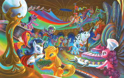 Size: 994x625 | Tagged: safe, artist:mary jane begin, applejack, arrow (sea pony), coral (sea pony), electra, fluttershy, king leo, nar wally, pinkie pie, rainbow dash, rarity, spike, twilight sparkle, earth pony, fish, jellyfish, narwhal, pegasus, pony, sea lion, sea pony, seahorse, shark, unicorn, under the sparkling sea, aquastria, book, cake, coral, female, flying fish, food, hilarious in hindsight, jellyfly, male, mane six, mare, official, shell, throne, throne room, uncanny valley, underwater, unicorn twilight