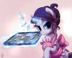 Size: 2500x2000 | Tagged: safe, artist:whitediamonds, rarity, pony, unicorn, alternate hairstyle, apron, baking, bedroom eyes, clothes, cookie, cute, female, food, high res, looking at you, magic, mare, raribetes, smiling, solo