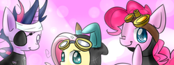 Size: 800x300   Tagged: safe, artist:xpockybutt, fluttershy, pinkie pie, twilight sparkle, earth pony, pegasus, pony, unicorn, bunny ears, clothes, dangerous mission outfit, eyepatch, female, flutterspy, future twilight, goggles, hoodie, mare, one eye closed, pinkie spy, spy, suit, wink