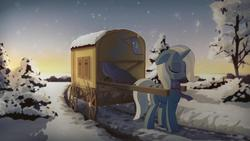Size: 1920x1080 | Tagged: safe, artist:drnakedspaceman, artist:gign-3208, edit, trixie, pony, unicorn, backlighting, cart, female, mare, snow, snowfall, solo, winter