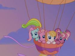 Size: 640x480 | Tagged: safe, screencap, cheerilee (g3), pinkie pie (g3), rainbow dash (g3), toola roola, pony, twinkle wish adventure, balloon, g3, g3.5, hot air balloon, sky
