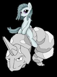 Size: 1332x1808 | Tagged: safe, artist:kas92, marble pie, earth pony, onix, pony, crossover, duo, female, mare, pokémon, ponies riding pokémon, riding, simple background, transparent background
