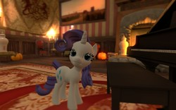 Size: 1280x800 | Tagged: safe, artist:hano, rarity, 3d, candle, carpet, cp manor event, fireplace, gmod, looking at you, piano, picture, team fortress 2, vase