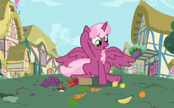 Size: 800x500 | Tagged: alicorn, alicornified, apple, artist:tharag, banana, carrot, cheericorn, cheerilee, edit, female, food, fruit, grapes, lemon, mare, orange, pony, race swap, safe, solo, strawberry