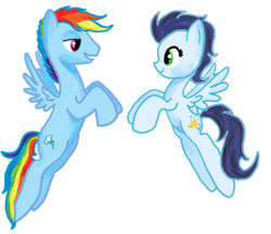 Size: 1280x1105 | Tagged: safe, artist:sweetchiomlp, rainbow dash, soarin', female, flying, glide, glideblitz, male, rainbow blitz, rule 63, shipping, soarindash, straight