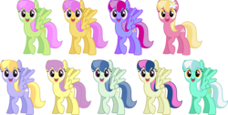 Size: 5000x2512 | Tagged: safe, artist:silvervectors, bons away, cloud kicker, lily, lily valley, merry may, skyra, spring skies, starsong, sugar apple, sunny rays, earth pony, pegasus, pony, background pony, female, lavender skies, mare, recolor, reference sheet, simple background, skyra heartstrings, transparent background, vector