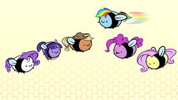 Size: 1920x1080 | Tagged: dead source, safe, artist:oblivinite, applejack, fluttershy, pinkie pie, rainbow dash, rarity, twilight sparkle, bee, :3, :p, mane six, smiling, species swap, wallpaper