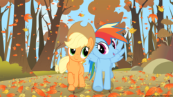 Size: 1920x1080 | Tagged: safe, artist:gratlofatic, applejack, rainbow dash, fall weather friends, autumn, duo, female, leaves, running of the leaves, vector