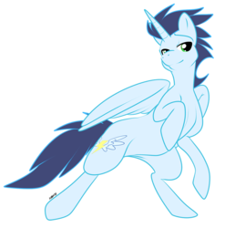 Size: 800x811 | Tagged: dead source, safe, artist:muzz, soarin', alicorn, pony, alicornified, bedroom eyes, bipedal, race swap, rearing, simple background, smiling, soaricorn, transparent background