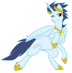 Size: 800x811 | Tagged: dead source, safe, artist:muzz, soarin', alicorn, pony, alicornified, bedroom eyes, bipedal, laurel, necklace, race swap, rearing, simple background, smiling, soaricorn, transparent background