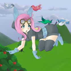 Size: 700x700 | Tagged: safe, artist:cielaart, fluttershy, bird, human, big breasts, boots, breasts, bunny ears, busty fluttershy, caught, clothes, cute, dangerous mission outfit, female, gloves, goggles, hoodie, humanized, scared, shoes, solo, stockings, winged humanization, wings