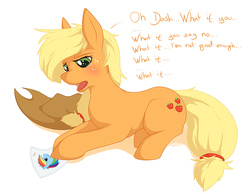 Size: 1000x774   Tagged: safe, artist:blackkaries, applejack, rainbow dash, earth pony, pony, appledash, applejack's hat, cowboy hat, dialogue, female, freckles, hat, lesbian, mare, open mouth, prone, shipping, simple background, solo, white background, worried