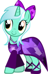 Size: 3877x6000 | Tagged: safe, artist:theshadowstone, lyra heartstrings, pony, unicorn, absurd resolution, bow, clothes, dress, female, hair bow, jewelry, necklace, simple background, smiling, solo, transparent background, vector