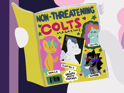 Size: 500x375 | Tagged: safe, artist:elslowmo, king sombra, rumble, snails, snips, sweetie belle, magazine, parody, the simpsons
