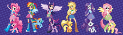 Size: 2048x593 | Tagged: applejack, box art, edit, eqg promo pose set, equestria girls, equestria girls plus, fluttershy, human coloration, humanized, pinkie pie, ponied up, rainbow dash, rarity, recolor, safe, twilight sparkle, twoiloight spahkle, winged humanization